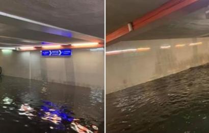 Наводнение метро дъжд
