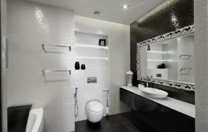 Черно, бяло и сиво в интериора на банята