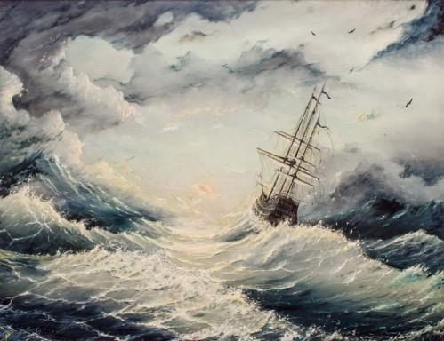 кораб бурно море, картина нещастие, поверие, суеверие