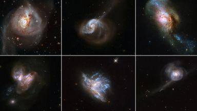 НАСА пусна уникални снимки на сливащи се галактики