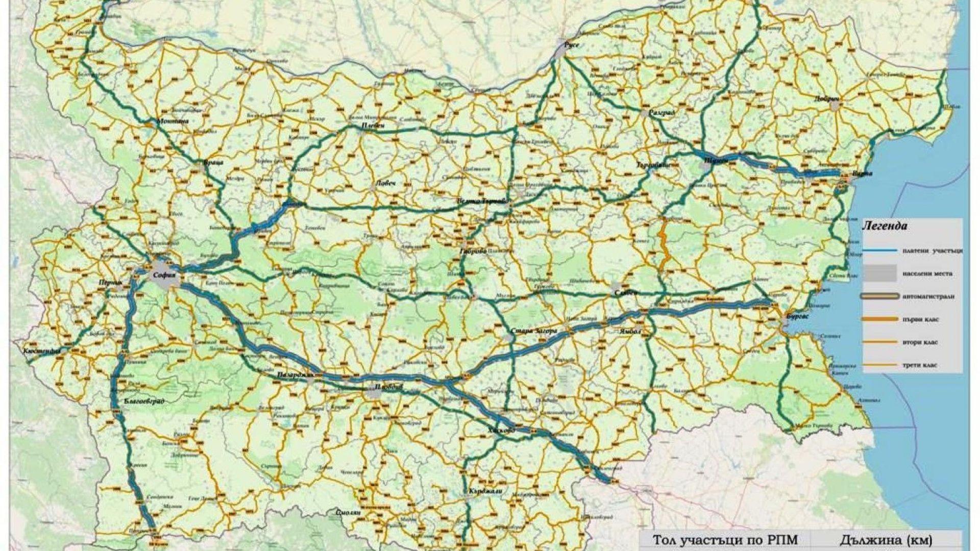 Карта на обхванатите от тол такси пътища