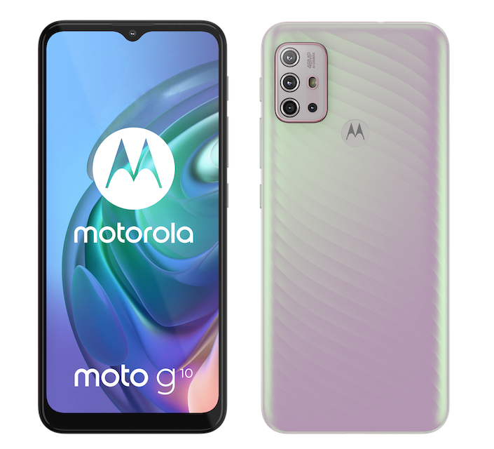 moto g10  BasicPack IridescentPearl Front and back