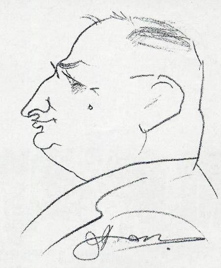 Портрет на проф. Зайков, рисуван от неизвестен художник в кафене
