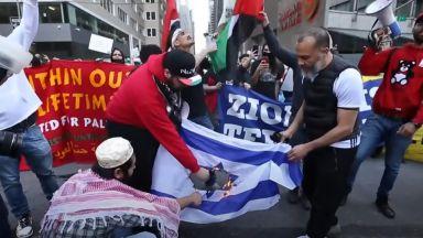 Хиляди по улиците в САЩ и Канада в подкрепа на палестинците, гориха израелски знамена