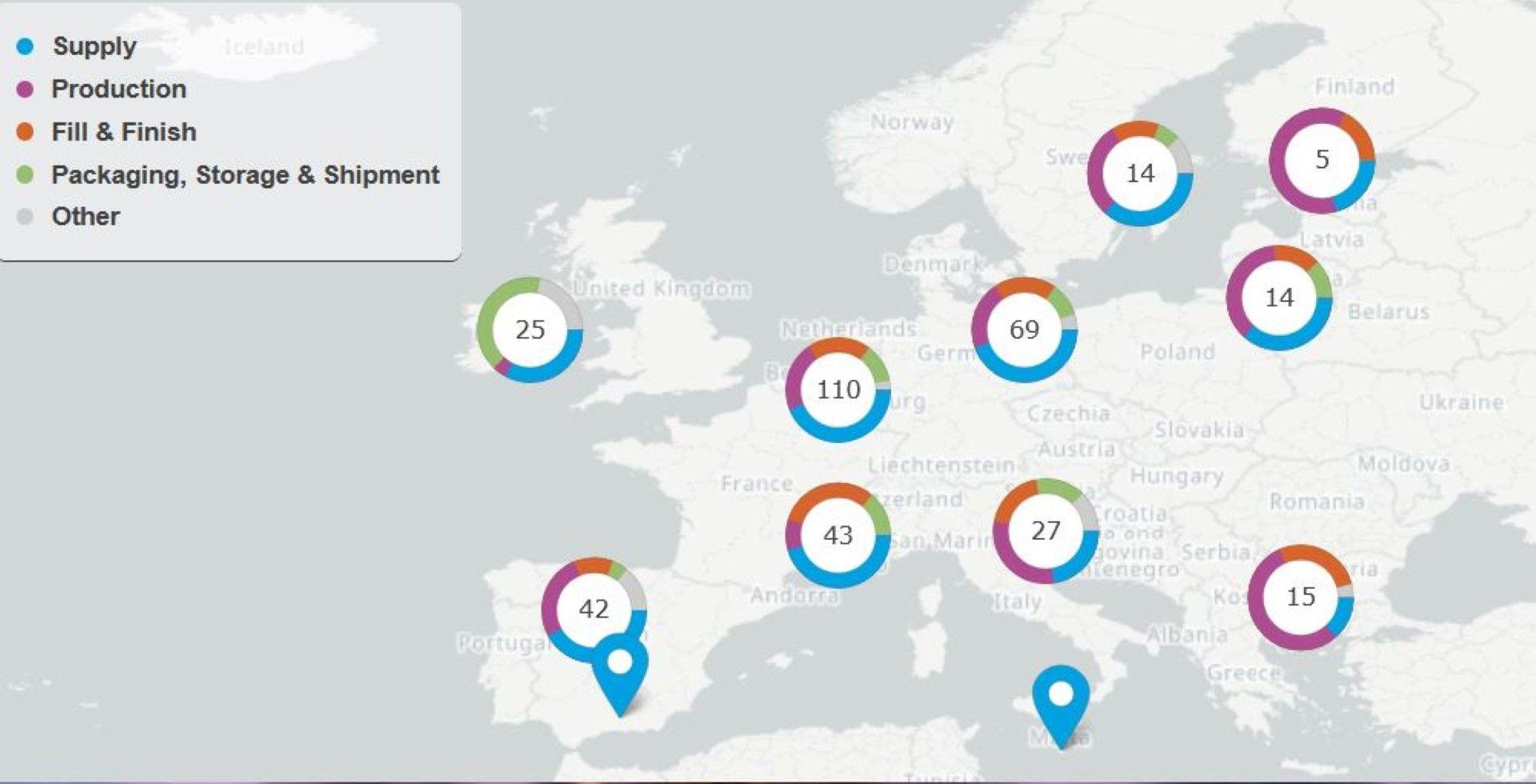 Интерактивна карта на капацитета за производство на ваксини срещу COVID-19 в ЕС и веригата на доставки в страните от Общността