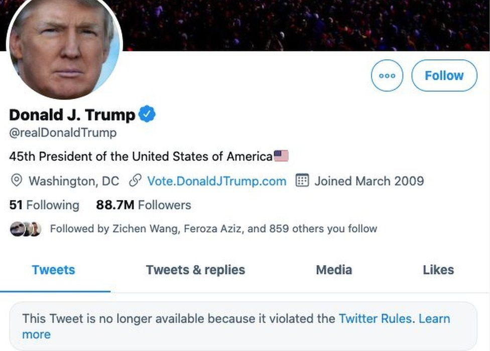 Twitter изтри профила на американския президент