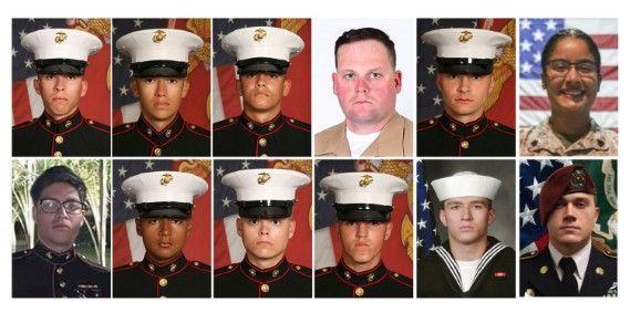 12 от загиналите в Кабул американски войници, представени в комбинирана снимка
