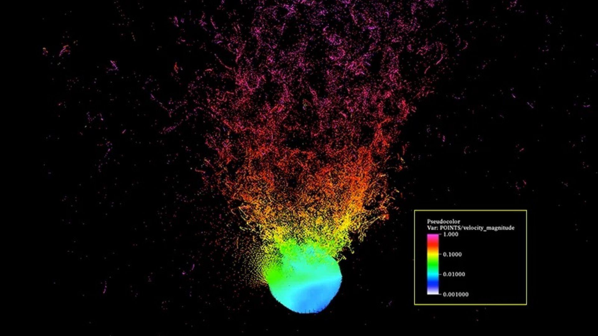 Симулирано раздробяване на астероид с ядрена бомбардировка